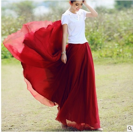 New NEW 8 meters expansion bottom bust skirt chiffon summer spring pleated long skirt mopping floor half-length Skirts women(China (Mainland))