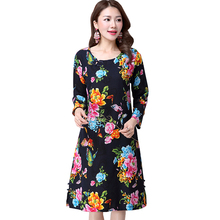 Chinese national wind 2016 spring new casual women floral dress long-sleeved print women dress Fashion elegant lady dress 37(China (Mainland))