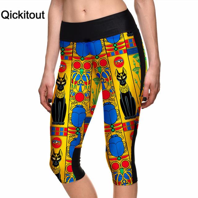 Qickitout капри 2016 оптовая продажа женщин 7 точка брюки древнего египта цифровой ...