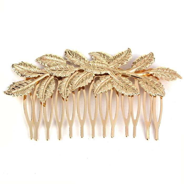 2014 New Amazing Coming Hot Fashion Punk Women Girls Golden Leaf Hair Comb Hair Clip Jewelry Feida(China (Mainland))