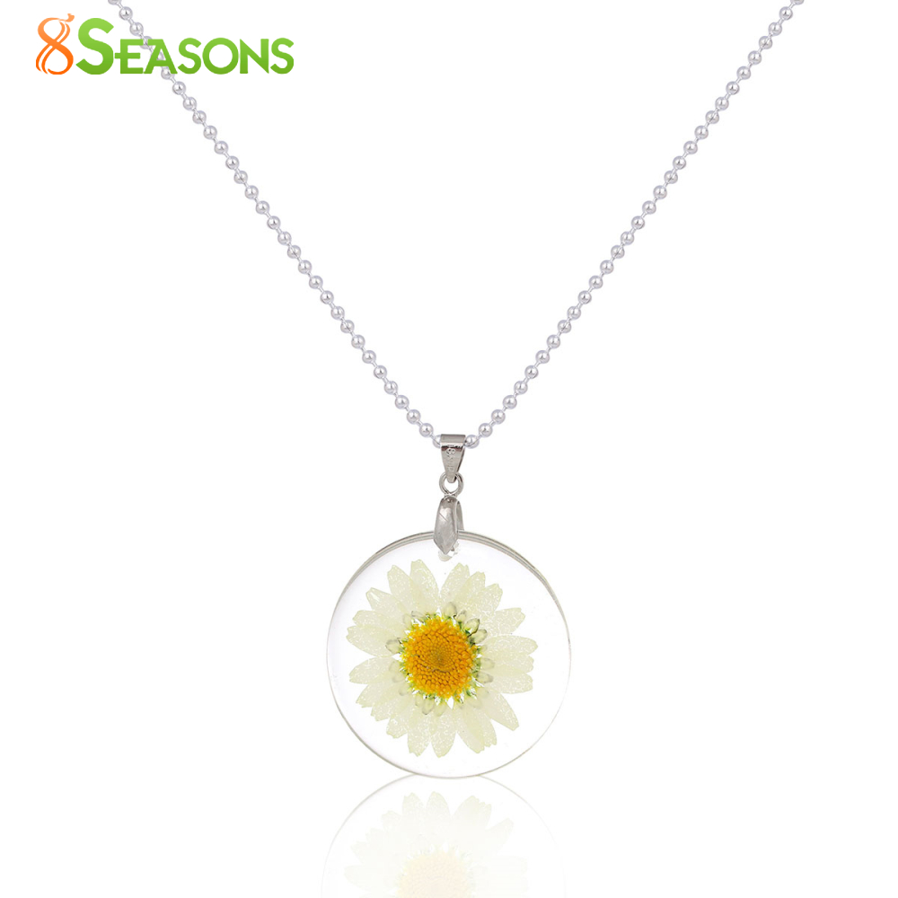 8SEASONS Handmade Boho Transparent Resin Dried Flower Daisy Necklace Ball Chain Silver Plated White Round 45cm long,1 Piece(China (Mainland))