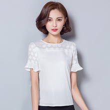 2016 Summer women blouses elegant Lace patchwork Chiffon shirts short sleeved OL hollow out slim plus size