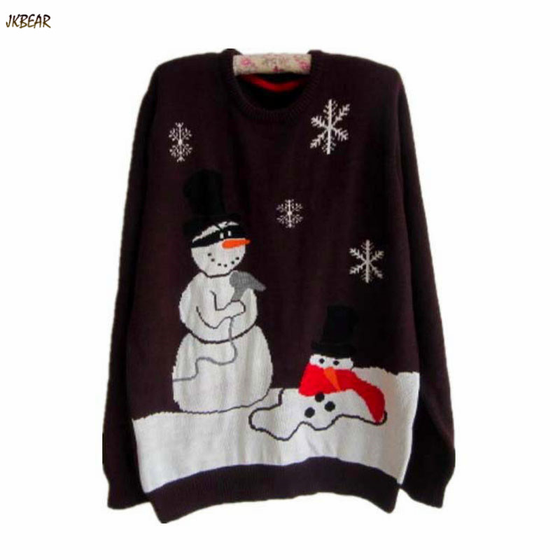 New-arriving Women's One-size Ugly Christmas Sweaters Funny Snowman Destroyer Pattern Pullovers(China (Mainland))