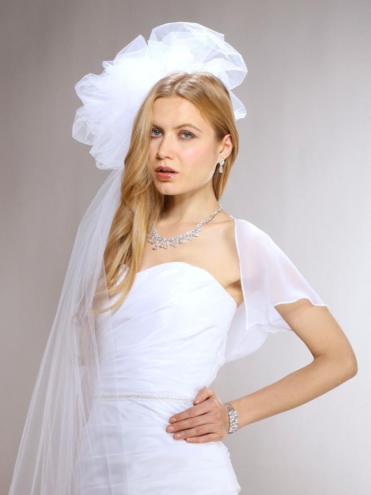 2014 wholesale chiffon short bell sleeve chiffon bridal for White bolero for wedding dress