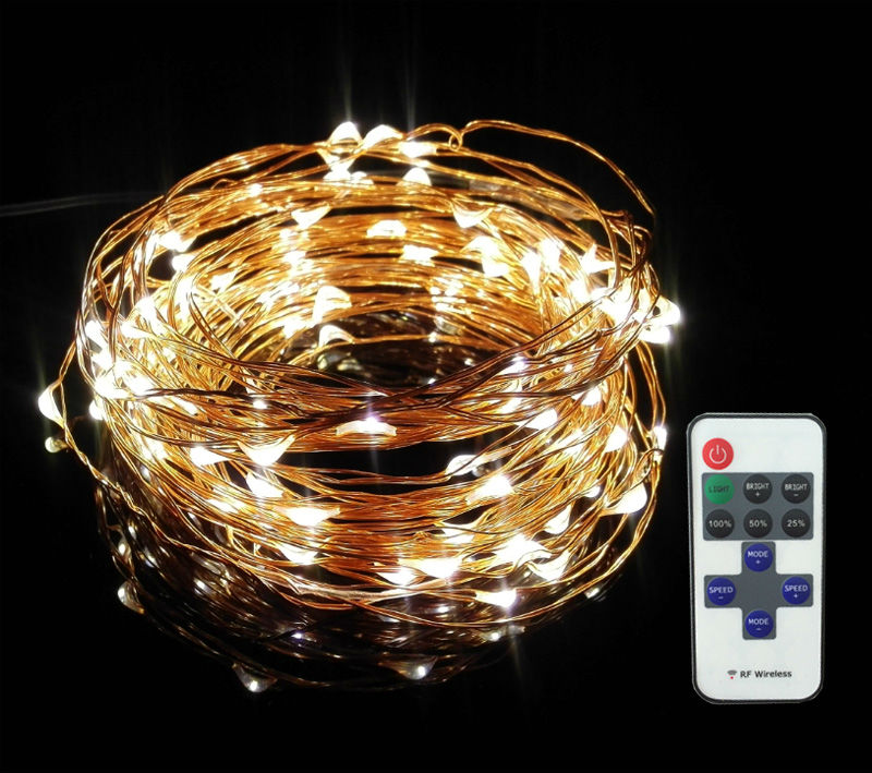 Led String Lights Remote Control : Aliexpress.com : Buy 10m 100 33ft RF remote control dimmable LED copper wire string lights ...