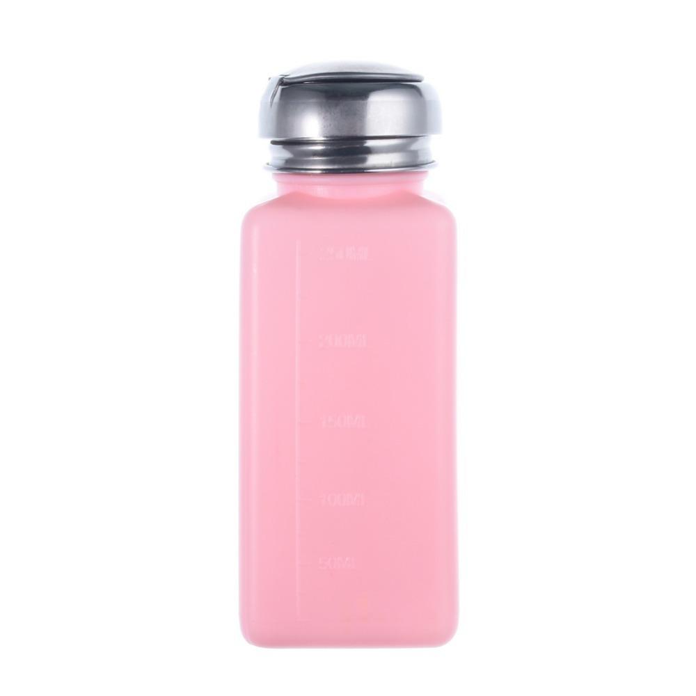 Nail Polish Bottle Manicure Tool Pump Dispenser For Nail Art Polish Remover 200ML Refillable Bottles Pink(China (Mainland))