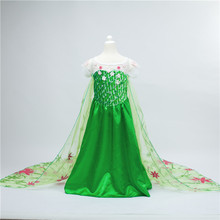 2015 Fever Elsa Anna Dress Girl Clothes halloween Princess Dress children Party Vestido Dress kid Green Elsa Costume Dresses