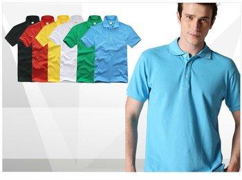 Wholesale 5 pcs hot sale summer blue 6 color man men male gentleman casual fit slim cotton polo shirt top cloth FZ-MW-TX