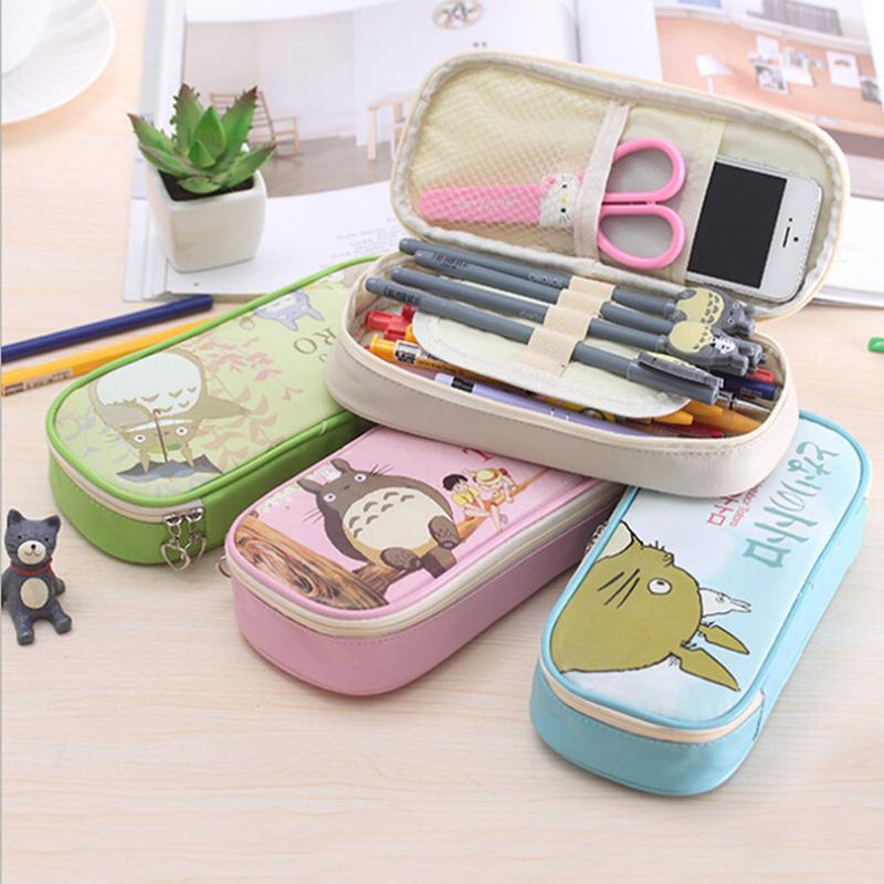 Kawaii Totoro Pu Leather Pencil Case Cute School Pencil