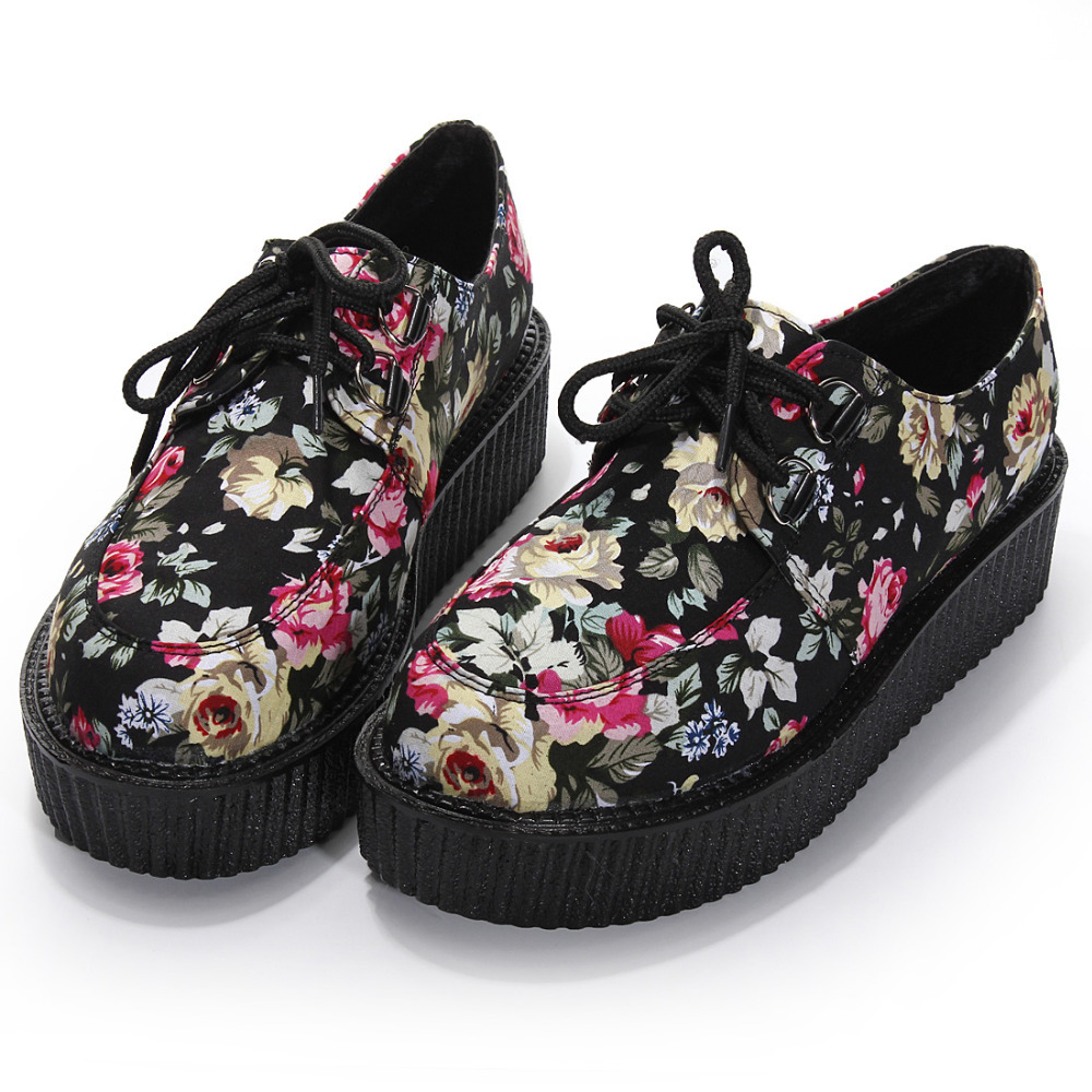 2015 Vintage Spring Autumn Punk Goth New Womens Floral Lace Up High Platform Skull Flat Creeper Boat Shoes(China (Mainland))