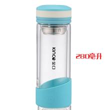 Двойной слой стекло прозрачный портативная Creative пара чашки жаропрочный фильтр чаша с крышкой