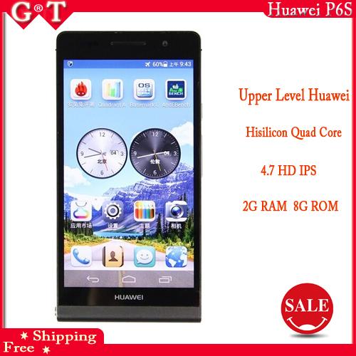 Original Huawei Ascend Dual Sim P6s P6 U06 4.7'' Quad Core Mobile Phone 2GB RAM 8G/16GB ROM GPS WCDMA Google Play Store(China (Mainland))