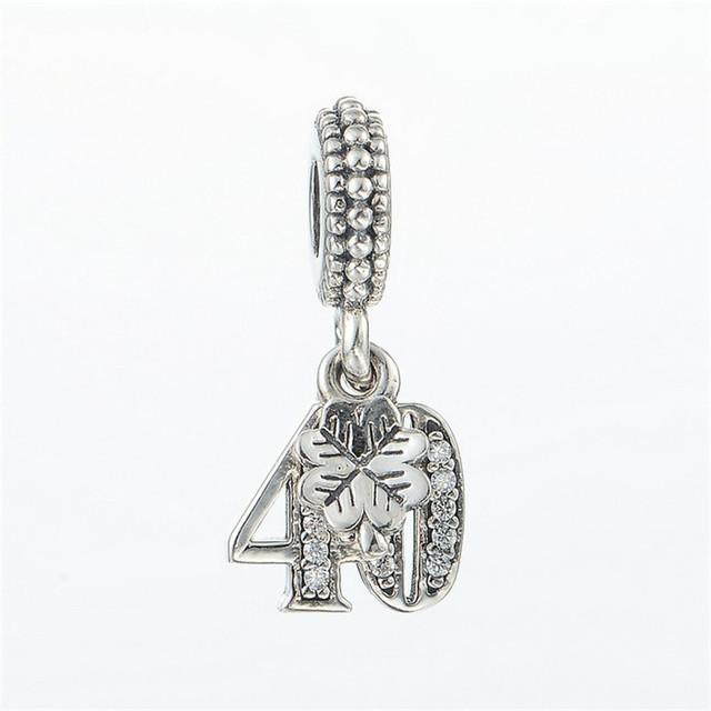 Номер 40 CZ камни мотаться бусины чистый 925-Sterling-Silver женщин DIY ювелирных подходит европейский бренд прелести браслет летний стиль