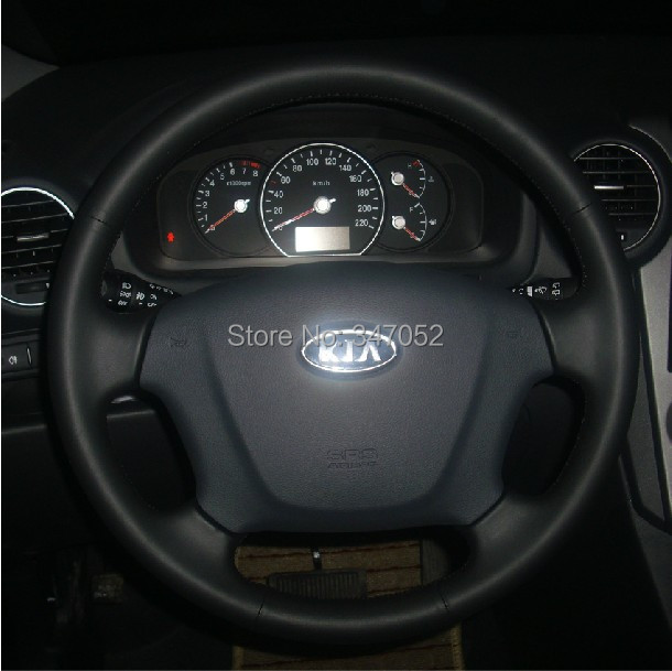 Kia Carens 2007-2011 Steering Wheels Covers Car Special Hand-stitched Black Genuine Leather Steering Wheel Cover FREE SHIPPING(China (Mainland))