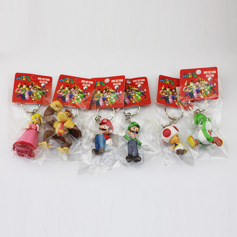 6Pcs/Set Super Mario Bros Figure Donkey Kong Yoshi Peach Mario Luigi Toad PVC Figures Toys With Keychains 3-7cm(China (Mainland))
