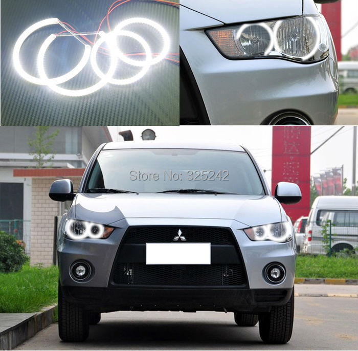 For Mitsubishi Outlander 2011 2012 non projector Excellent Angel Eyes Ultrabright illumination smd led Angel Eyes Halo Ring kit(China (Mainland))