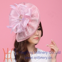 Free Shipping Fashion Women Fascinator Hats Pink Organza Flower Hair Accessory Wedding Hair Accessories Hairdress Sinamay Fabric