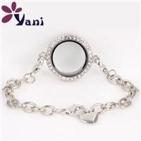 SHUYANI-Jewelry-25mm-Round-Rhinestone-Floating-Locket-Bracelet-Magnetic-Glass-Living-Memory-Locket-Bracelet