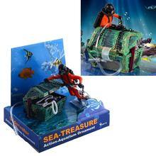 Aquarium Ornament Decor Treasure Hunter Chest Diver Fish Tank Air Action(China (Mainland))