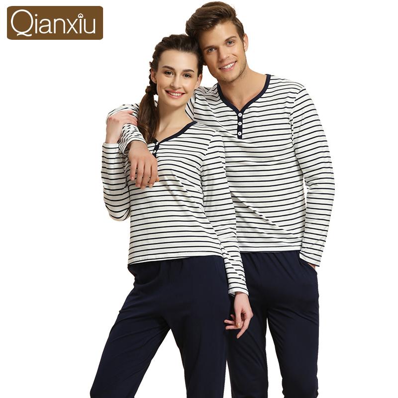Qianxiu Brand Autumn Cotton Striped Couple Pajamas Set For Women Men Pyjamas Homme Lounge Long Sleeve Sleepwear Tee Shirt &amp; PantОдежда и ак�е��уары<br><br><br>Aliexpress