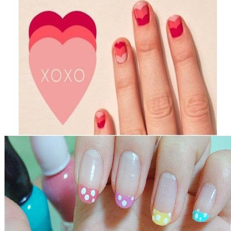 Diy French Nail Design Manicure Nail Art Decorations Guide Stickers ...