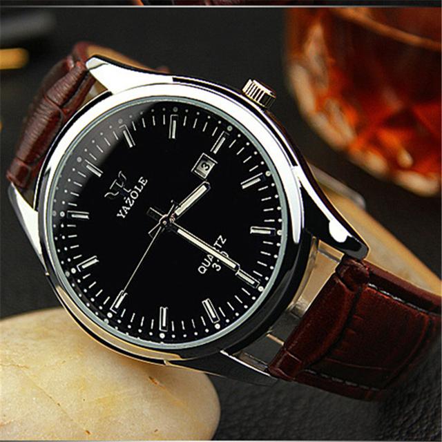 2016 самых продаваемых YAZOLE люксовый бренд кварцевые часы свободного покроя мода кожаные изделия reloj masculino мужчины часы спортивные наручные часы