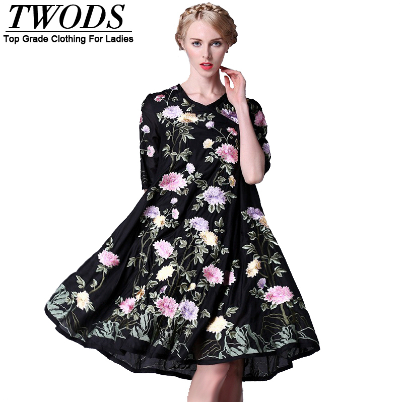 Twods 2015 new casual loose womens summer dress black vintage embroidery loose half sleeve ladies plus size clothing dressesОдежда и ак�е��уары<br><br><br>Aliexpress