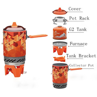 <font><b>Outdoor</b></font> <font><b>Stove</b></font> One-Piece Camping <font><b>Stove</b></font> Collector Pot Camping Cooking Fire Maple FMS-X2 600g 1.0L Gift Pot Rack + Tank Bracket
