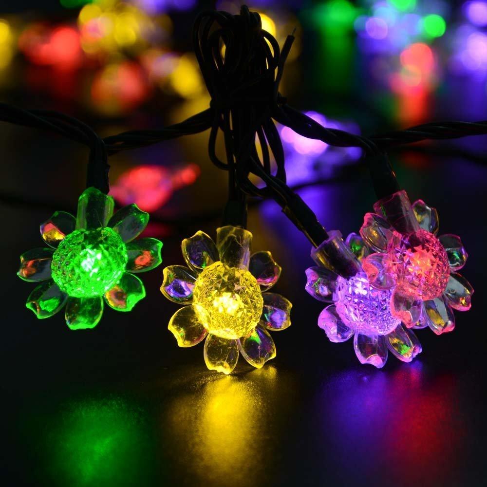 21ft 50 LED Fairy Blossom String Lights Sunflower Solar Christmas Lights Decorative Lighting for Indoor/Outdoor, Garden, Home(China (Mainland))