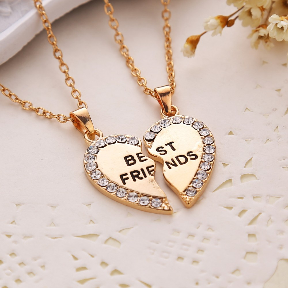 к 2015 году лучшие друзья буквы ожерелье сердца rhinestone двух частей кулон ожерелье