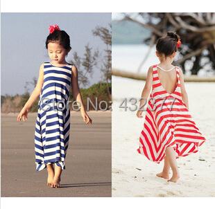 Retail! Girls Summer Dresses 2015 toddler girl clothes Casual Bohemian girl dress Ink/Orange stripe beach Dresses(China (Mainland))