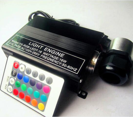 RGB 16W LED optical fiber lights engine end grow PMMA plastic fiber optics cable +24IR remote controller(China (Mainland))