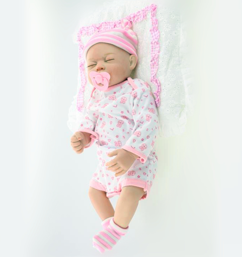 20 inch closed reborn girl baby doll with pink clothes<br><br>Aliexpress