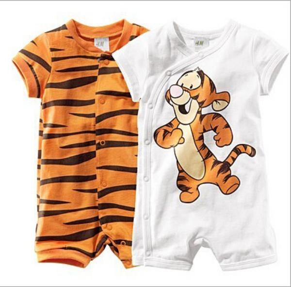 Летние детские дети с коротким рукавом мультфильм тигр майка для детей полоса новорожденного ...