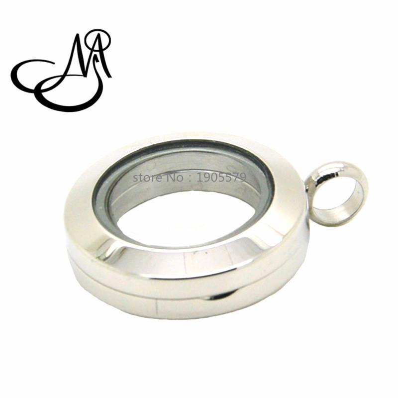Mijia 20mm silver round magnetic glass floating charm locket 316L stainless steel lockets pendant SMG023(China (Mainland))