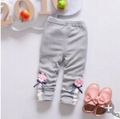 2016 Autumn New Children Girls Clothing Pants Girls Cotton Dot Print Embroidery Flower Casual Leggings Pants
