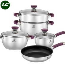 free shipping cooking utensil set casserole pots set kitchen utensil cooking tools inox pots and pans set high quality(China (Mainland))
