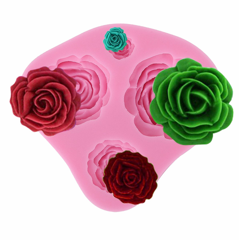 Cake Decoration Mold 3D Silicone Rubber Mini Rose Flower 4 Shape Fondant Cakes Moulds Decorating Baking Tools - JJBird store