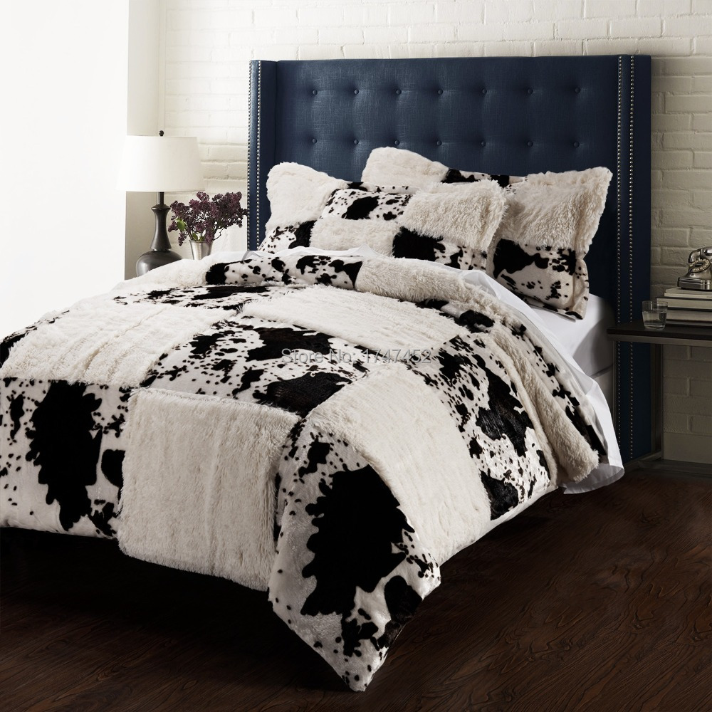 Buy printing pv velvet quilt cover set for Housse couette vache