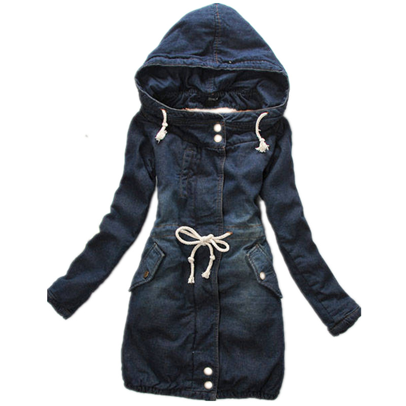 Free Shipping 2015 Winter Women Coat Denim Long Thick Sleeve Cotton Jeans Warm Overcoat Woman Plus size Outerwear H90101(China (Mainland))
