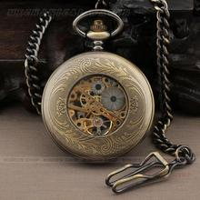 PU010 Dress Bronze Big numbers Case Vintage Round Dial Skeleton Men s Hand wind Mechanical Pocket
