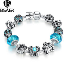 Silver Plated Butterfly Bear Car Blue Murano Charm Fit Pandora Bracelet for Women Christmas Eve Bracelet A1462(China (Mainland))