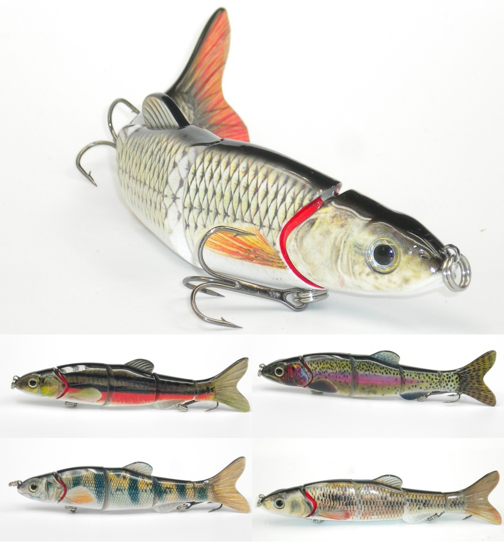 Multi section 5 section fishing lure crank bait swimbait for Spinner fishing lures