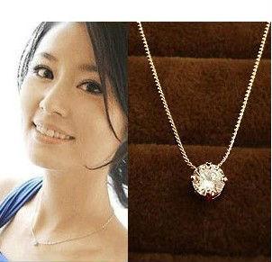 Women Glitter Simulated Diamond Necklace Short Chain Cubic Zirconia Necklace 4 Prongs Valentine Jewelry N027(China (Mainland))