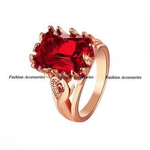 18K Rose Gold Engagement ring AAA Quality Ruby Austrian Crystals Women Ring Classic CZ Diamond Women