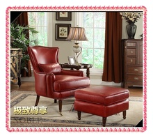 American style Top grade oil leather leisure chairs set chair with armrest hot selling (China (Mainland))