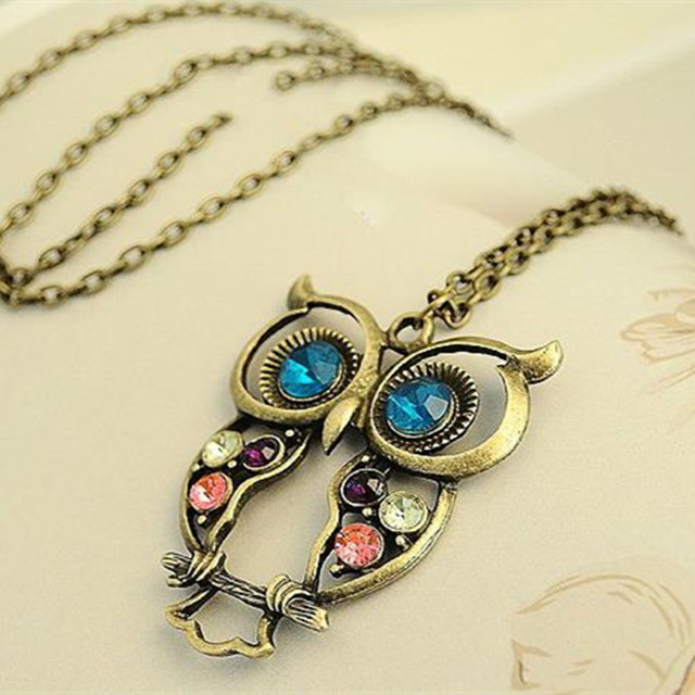XS009 Vintage Cute Owl Carved Hollow Chain Necklaces Pendants Fashion Jewelry Wholesales
