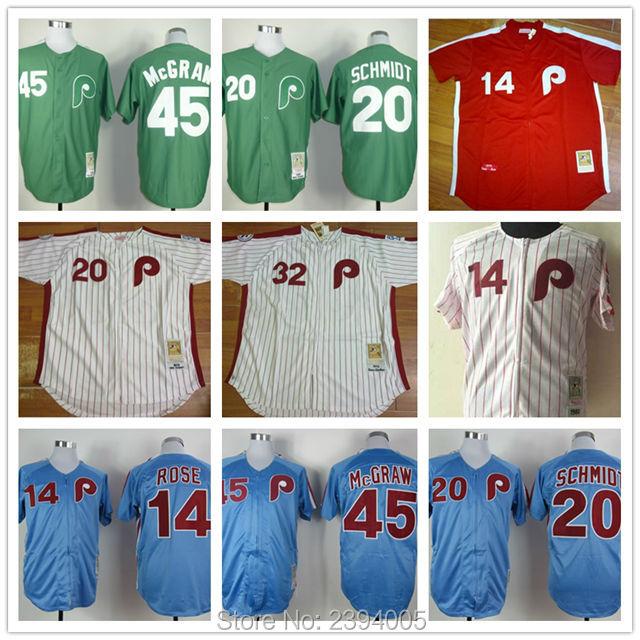 Mens 45 Tug McGraw jersey Phillies Throwback jersey 20 Mike Schmidt 14 ROSE 32 Steve Carlton cheap baseball green bule white(China (Mainland))
