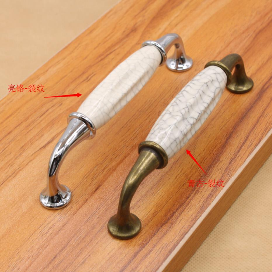Classic Door Handles White and Crack Ceramic Kitchen Cabinet Knobs and Handles Drawer Pulls Furniture Handware