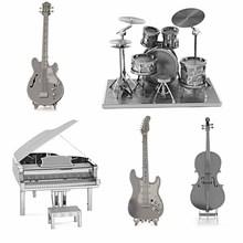Puzzle Toys 3D Metal Model Metallic Music Kits Nano Laser Cut Puzzle Educational DIY Toy Drum Set/Guitar/Piano/Bass Guitar/Cello(China (Mainland))